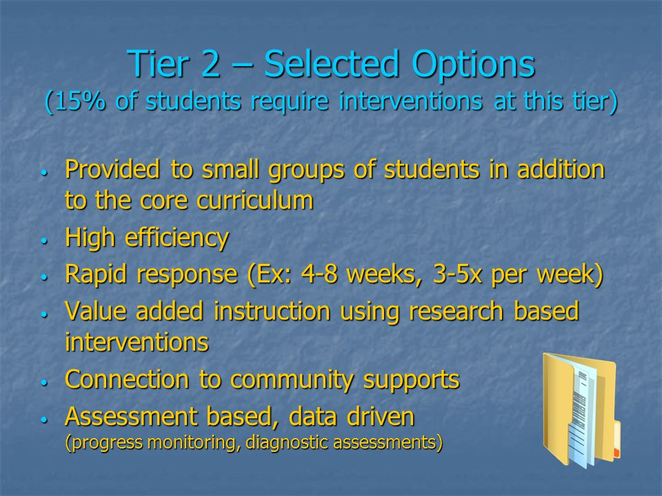 Tier 3 – Targeted Options (5% of students require interventions at this tier) Supplemental and/or Supplanted (replacement) instruction for individual students Supplemental and/or Supplanted (replacement) instruction for individual students Individual plans to address barriers to learning Individual plans to address barriers to learning Assessment based, data driven (Progress monitoring) Assessment based, data driven (Progress monitoring) High intensity High intensity Longer duration Longer duration