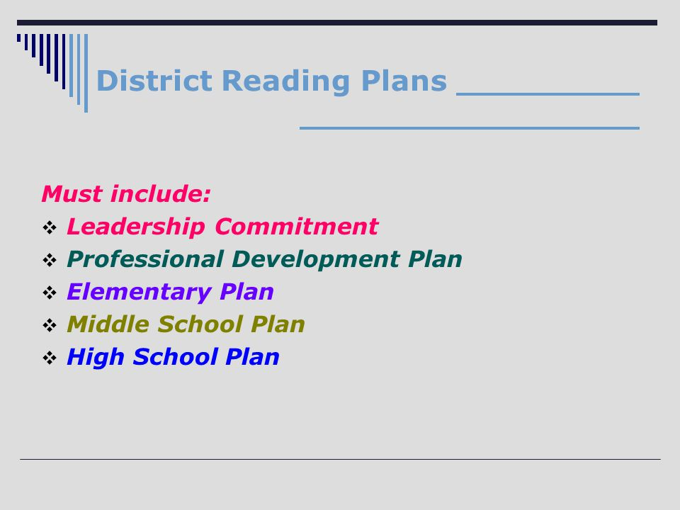District Reading Plans Must include:  Leadership Commitment  Professional Development Plan  Elementary Plan  Middle School Plan  High School Plan