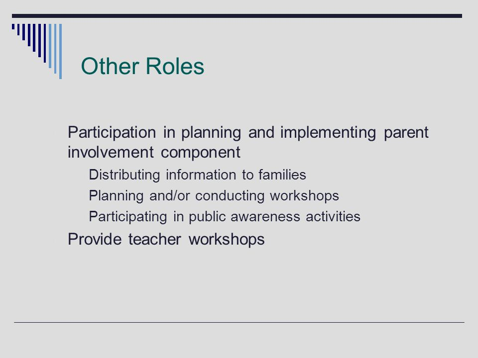 Other Roles Participation in planning and implementing parent involvement component  Distributing information to families  Planning and/or conducting workshops  Participating in public awareness activities Provide teacher workshops