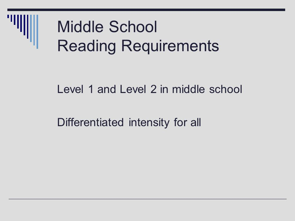 Middle School Reading Requirements Level 1 and Level 2 in middle school Differentiated intensity for all