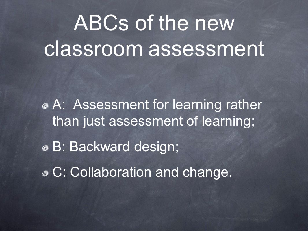 A: Assessment for learning rather than just assessment of learning; B: Backward design; C: Collaboration and change. ABCs of the new classroom assessm