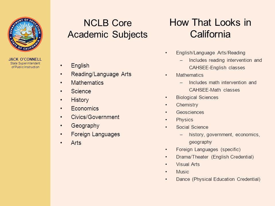 JACK O'CONNELL State Superintendent of Public Instruction NCLB Core Academic Subjects English Reading/Language Arts Mathematics Science History Econom
