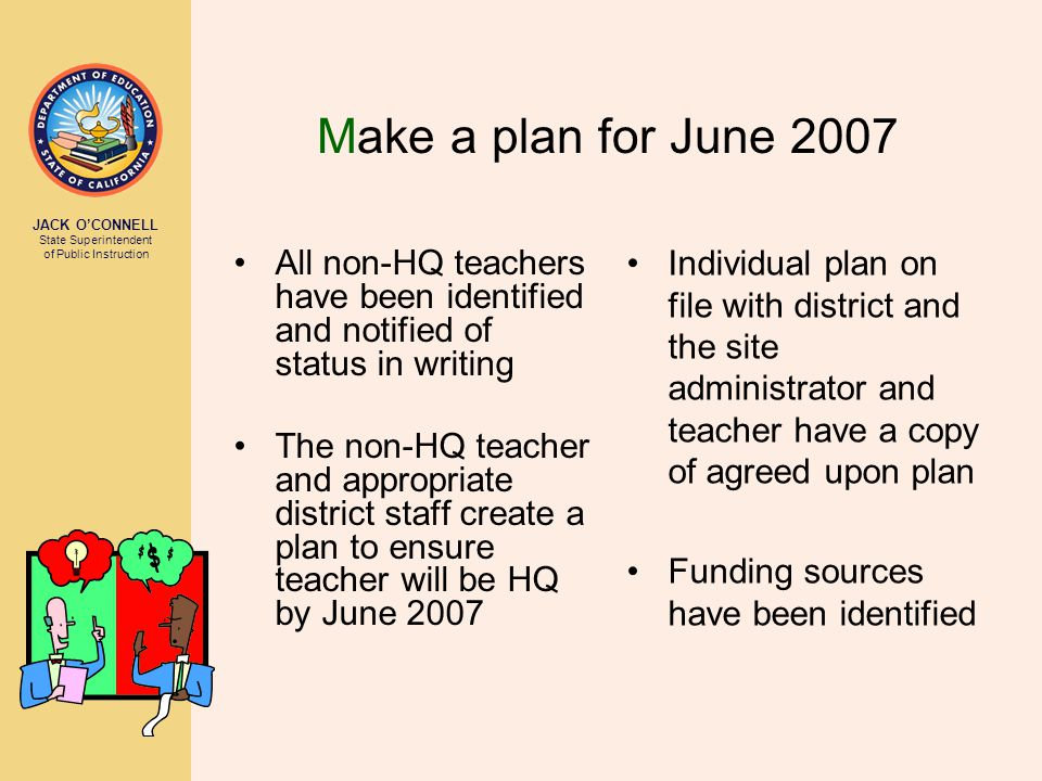 JACK O'CONNELL State Superintendent of Public Instruction Make a plan for June 2007 All non-HQ teachers have been identified and notified of status in