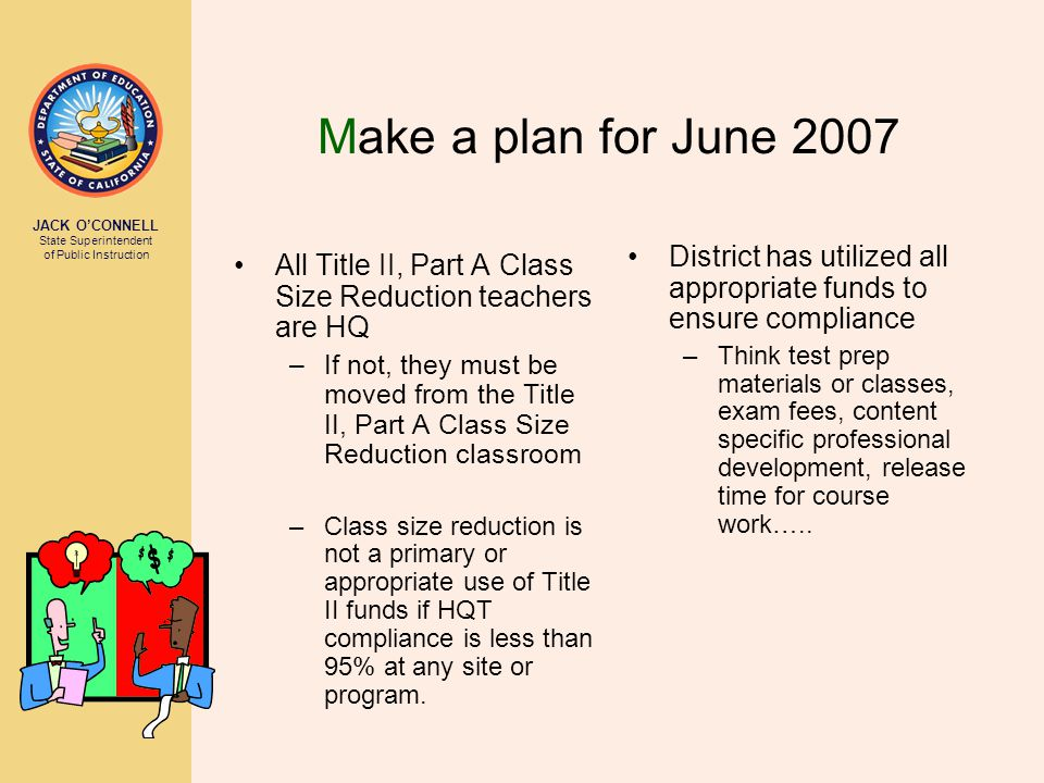 JACK O'CONNELL State Superintendent of Public Instruction Make a plan for June 2007 All Title II, Part A Class Size Reduction teachers are HQ –If not,