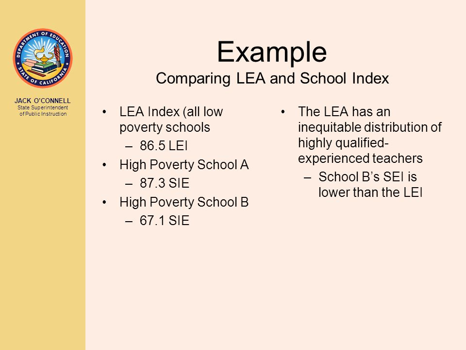 JACK O'CONNELL State Superintendent of Public Instruction Example Comparing LEA and School Index LEA Index (all low poverty schools –86.5 LEI High Poverty School A –87.3 SIE High Poverty School B –67.1 SIE The LEA has an inequitable distribution of highly qualified- experienced teachers –School B's SEI is lower than the LEI