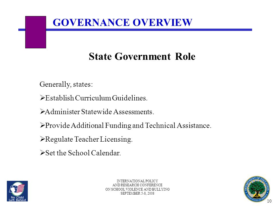 INTERNATIONAL POLICY AND RESEARCH CONFERENCE ON SCHOOL VIOLENCE AND BULLYING SEPTEMBER 5-8, 2008 State Government Role Generally, states:  Establish