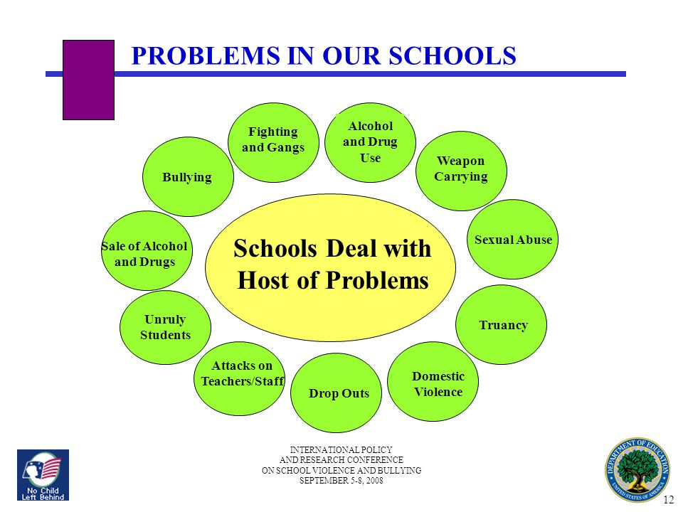 INTERNATIONAL POLICY AND RESEARCH CONFERENCE ON SCHOOL VIOLENCE AND BULLYING SEPTEMBER 5-8, 2008 PROBLEMS IN OUR SCHOOLS Schools Deal with Host of Pro