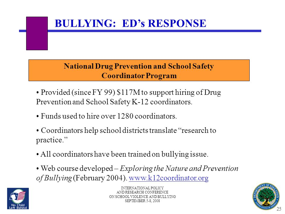 INTERNATIONAL POLICY AND RESEARCH CONFERENCE ON SCHOOL VIOLENCE AND BULLYING SEPTEMBER 5-8, 2008 National Drug Prevention and School Safety Coordinator Program Provided (since FY 99) $117M to support hiring of Drug Prevention and School Safety K-12 coordinators.