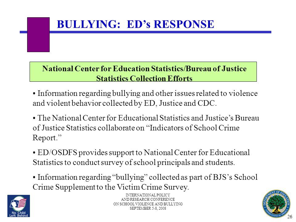 INTERNATIONAL POLICY AND RESEARCH CONFERENCE ON SCHOOL VIOLENCE AND BULLYING SEPTEMBER 5-8, 2008 BULLYING: ED's RESPONSE National Center for Education