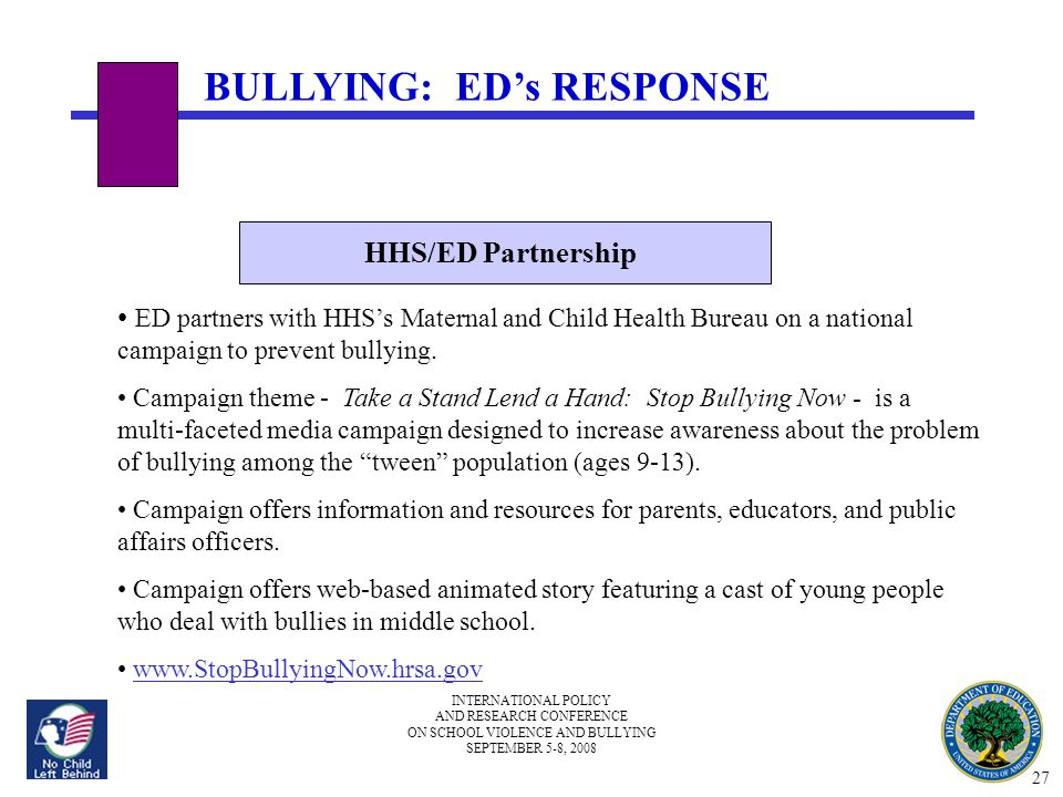 INTERNATIONAL POLICY AND RESEARCH CONFERENCE ON SCHOOL VIOLENCE AND BULLYING SEPTEMBER 5-8, 2008 Challenge Newsletter OSDFS dedicated edition of Challenge Newsletter to bullying.