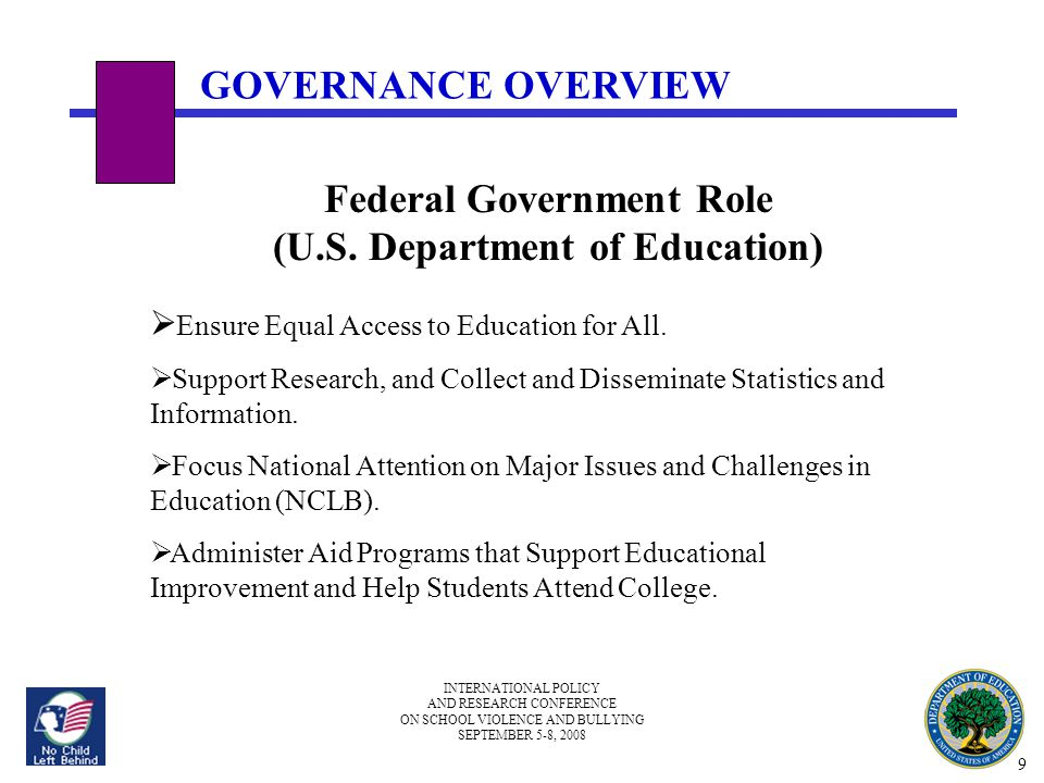INTERNATIONAL POLICY AND RESEARCH CONFERENCE ON SCHOOL VIOLENCE AND BULLYING SEPTEMBER 5-8, 2008 GOVERNANCE OVERVIEW Federal Government Role (U.S.