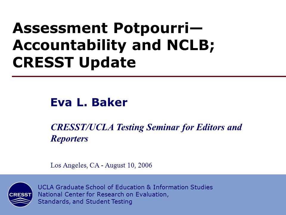 12/34 NCLB Basics By 2014 all children will be proficient Annual targets (% of students) (AYP) Disaggregation (separation into summaries by subgroup) for results and % taking test ELL issues Sanctions Questions about quality and comparability of standards, assessments and targets among States Evidence-based instruction.
