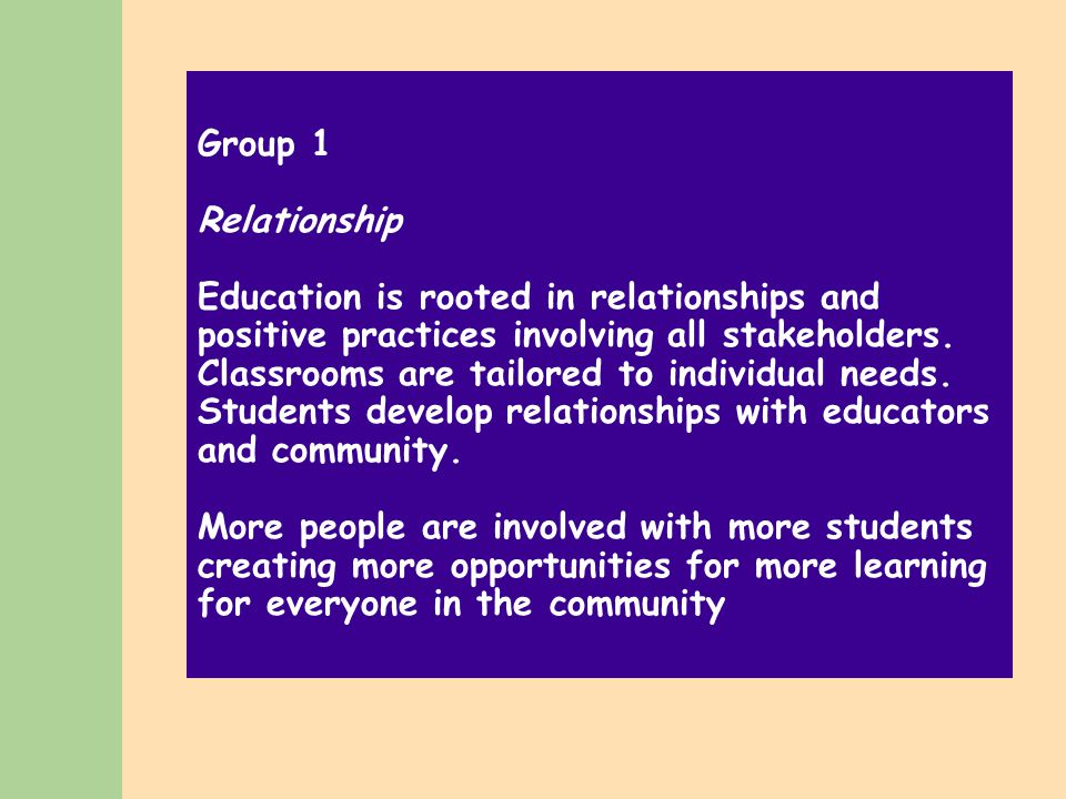 Group 1 Relationship Education is rooted in relationships and positive practices involving all stakeholders.