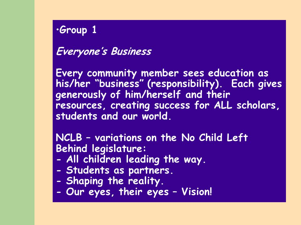 The Dream We see in our minds' eye A dream taking shape It gives us a desire to make All schools become new.