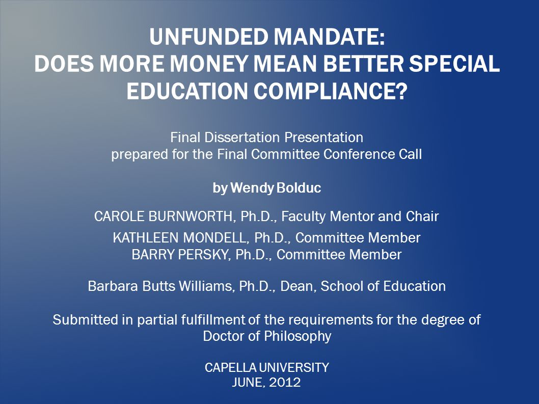 UNFUNDED MANDATE: DOES MORE MONEY MEAN BETTER SPECIAL EDUCATION COMPLIANCE.