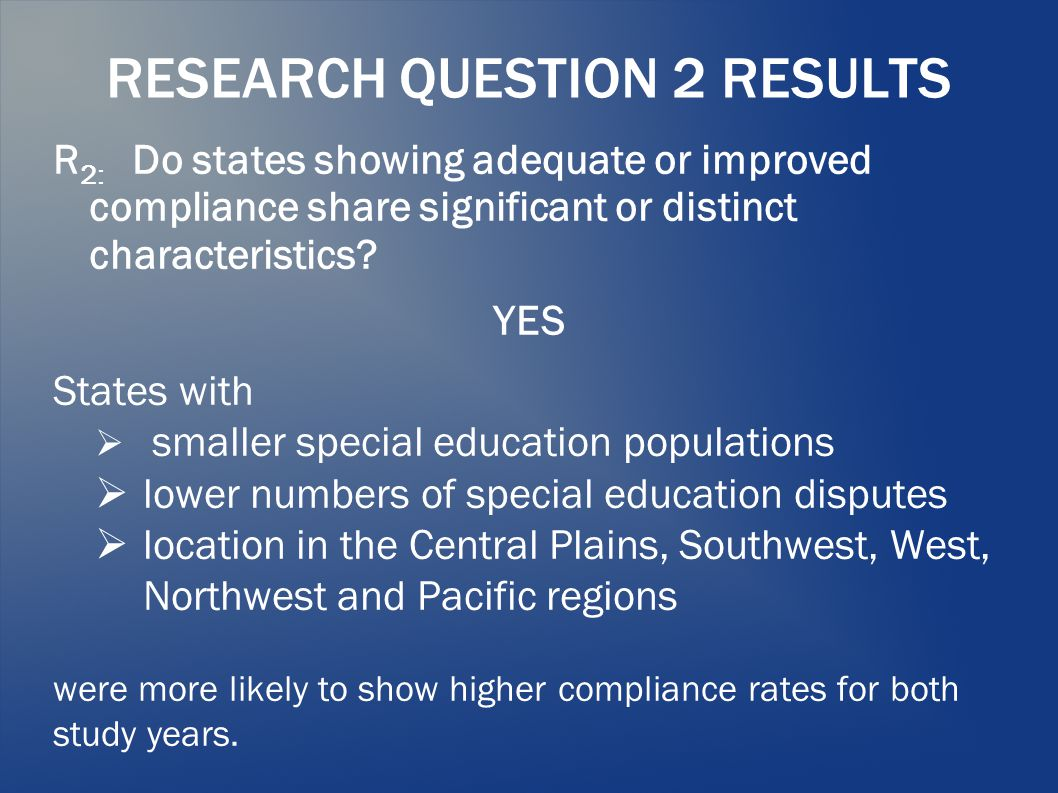 RESEARCH QUESTION 2 RESULTS R 2: Do states showing adequate or improved compliance share significant or distinct characteristics? YES States with  sm