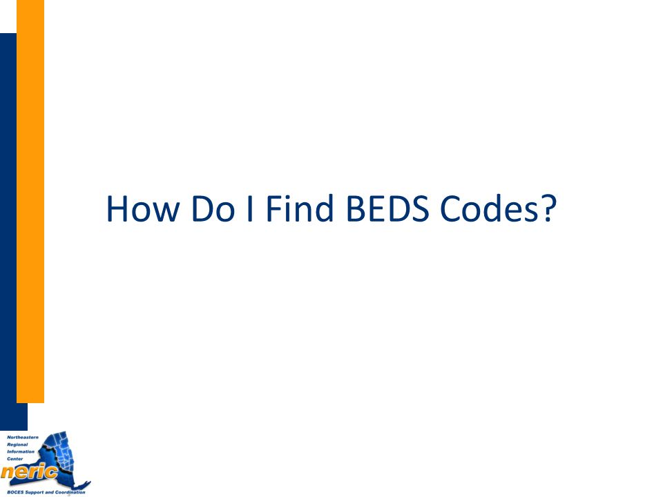 How Do I Find BEDS Codes