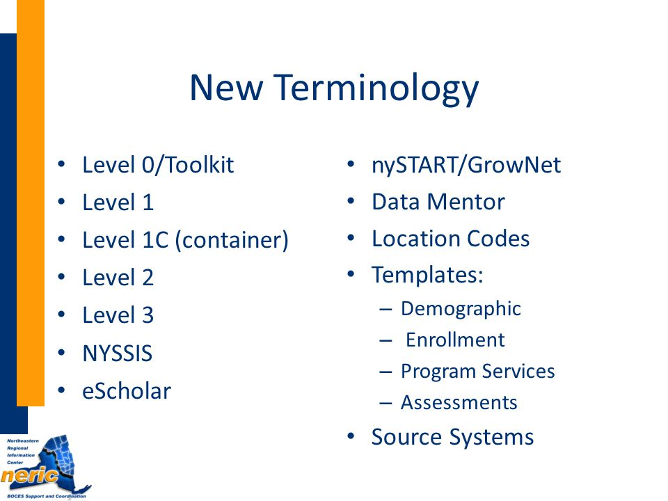New Terminology Level 0/Toolkit Level 1 Level 1C (container) Level 2 Level 3 NYSSIS eScholar nySTART/GrowNet Data Mentor Location Codes Templates: – Demographic – Enrollment – Program Services – Assessments Source Systems