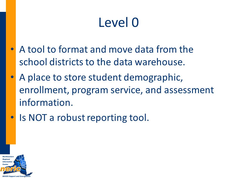 Level 0 A tool to format and move data from the school districts to the data warehouse.