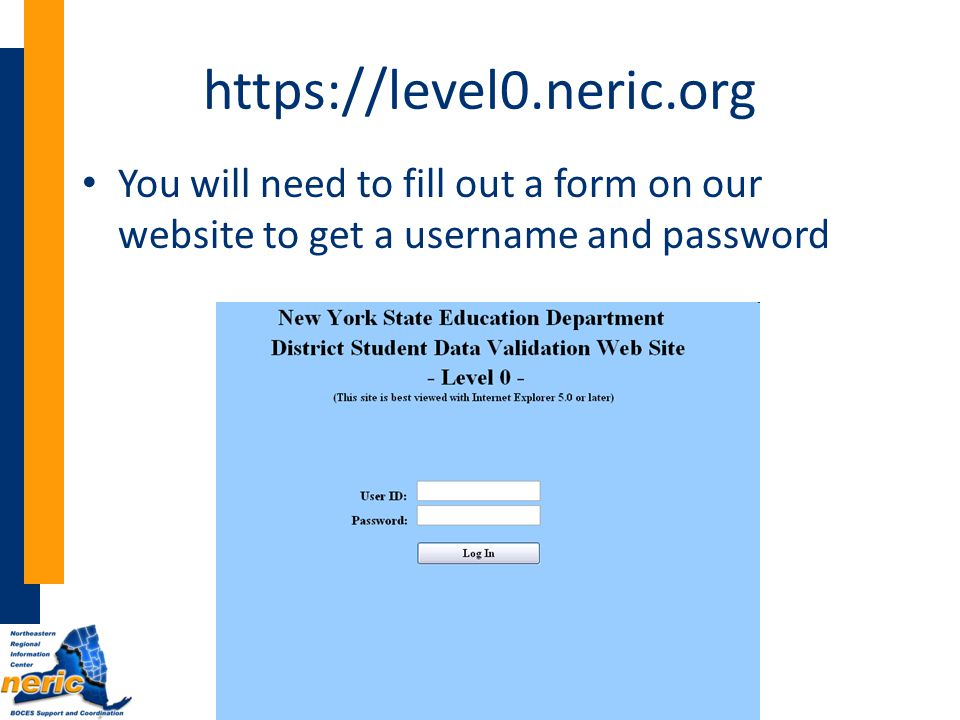 https://level0.neric.org You will need to fill out a form on our website to get a username and password