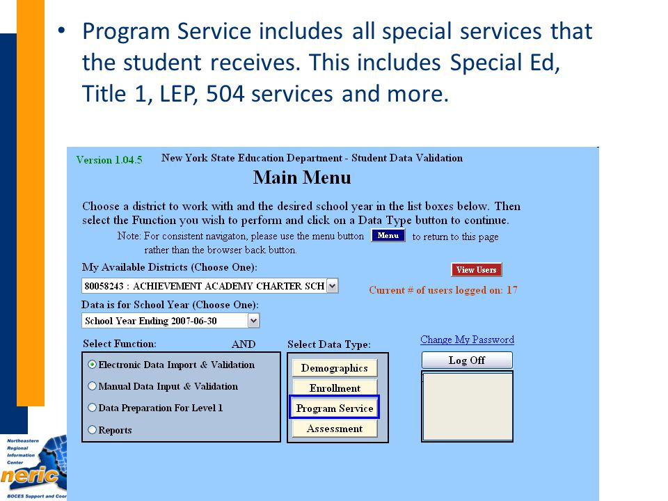 Program Service includes all special services that the student receives.