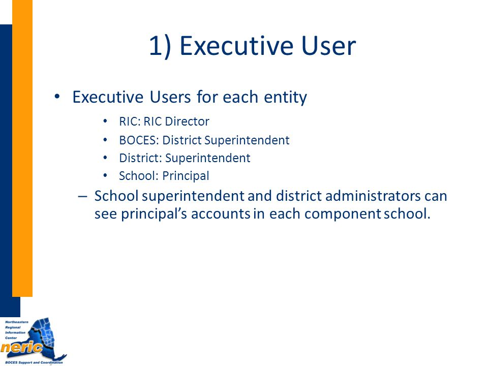 1) Executive User Executive Users for each entity RIC: RIC Director BOCES: District Superintendent District: Superintendent School: Principal – School superintendent and district administrators can see principal's accounts in each component school.
