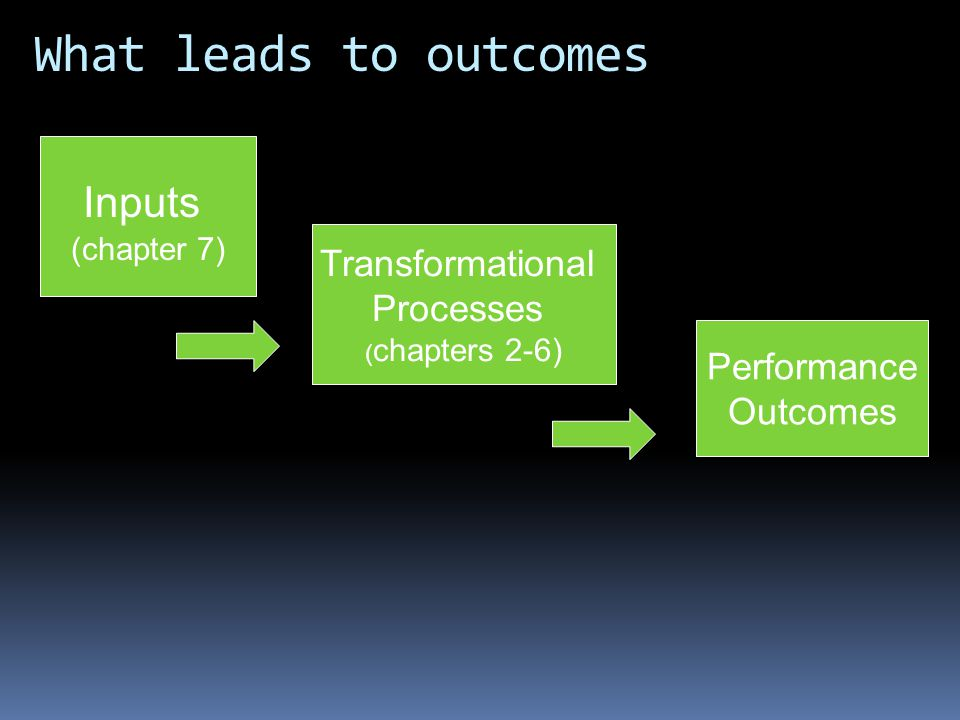 What leads to outcomes Inputs (chapter 7) Transformational Processes ( chapters 2-6) Performance Outcomes