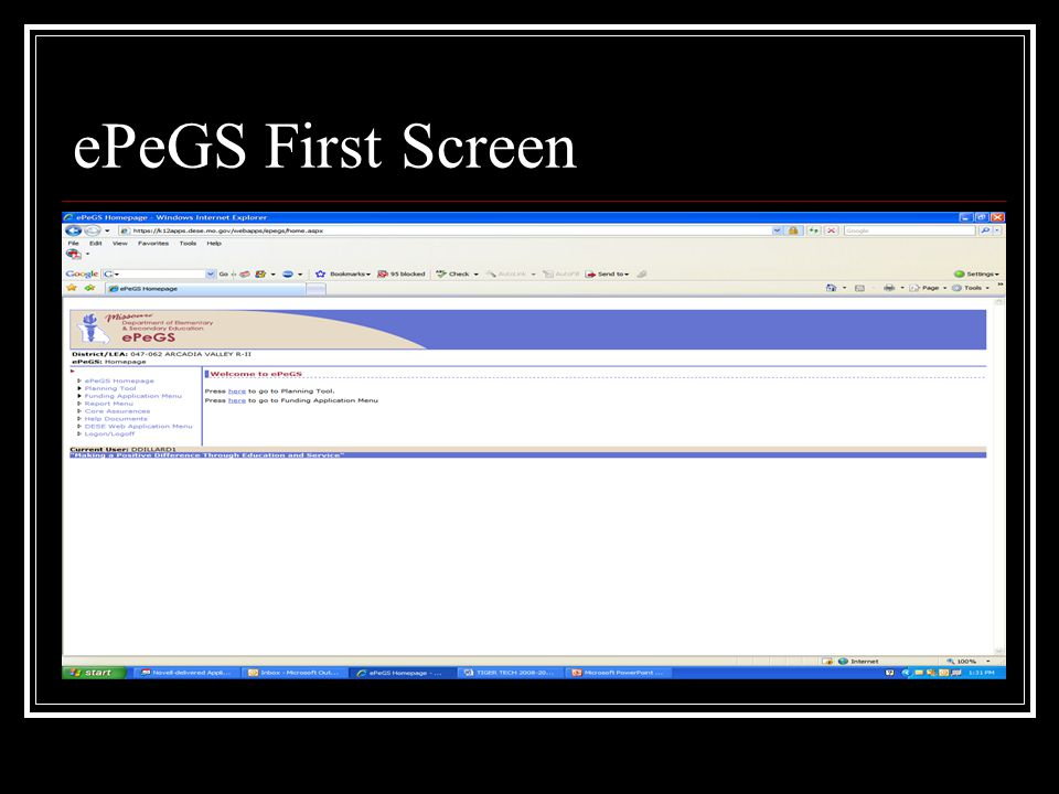 ePeGS First Screen