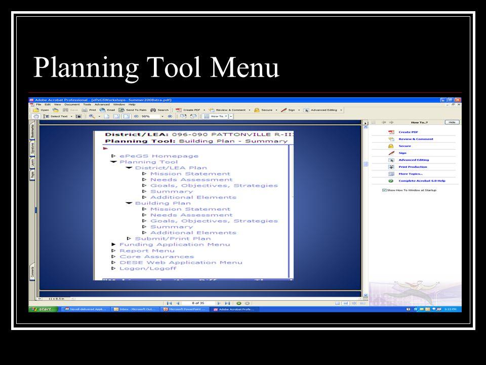 Planning Tool Menu