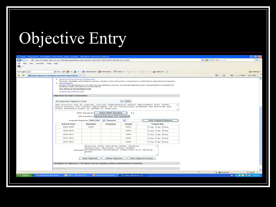 Objective Entry