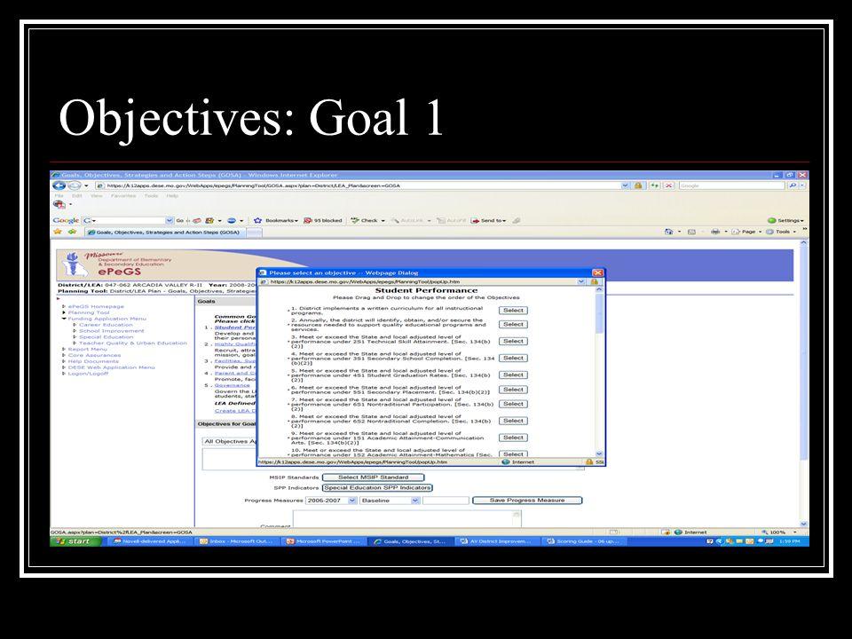 Objectives: Goal 1