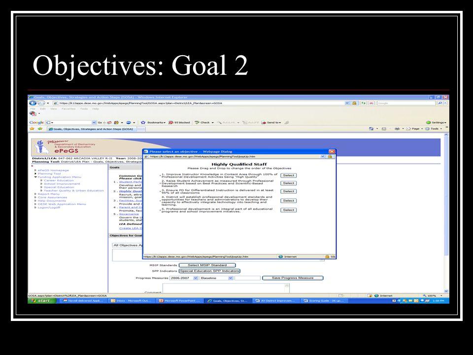 Objectives: Goal 2