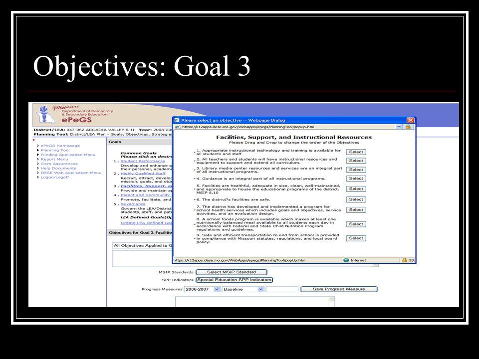 Objectives: Goal 3