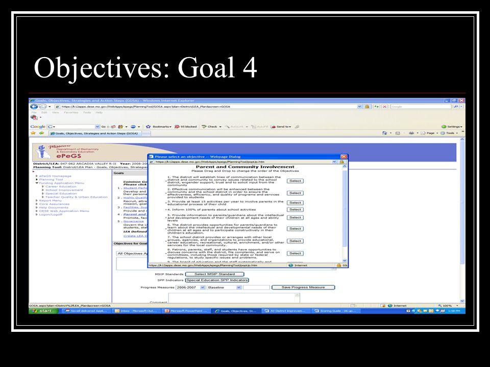 Objectives: Goal 4