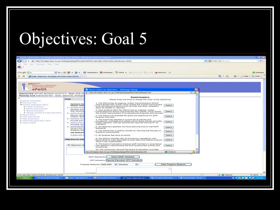 Objectives: Goal 5