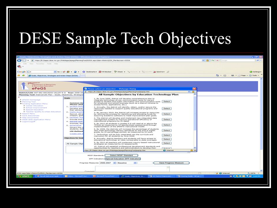 DESE Sample Tech Objectives