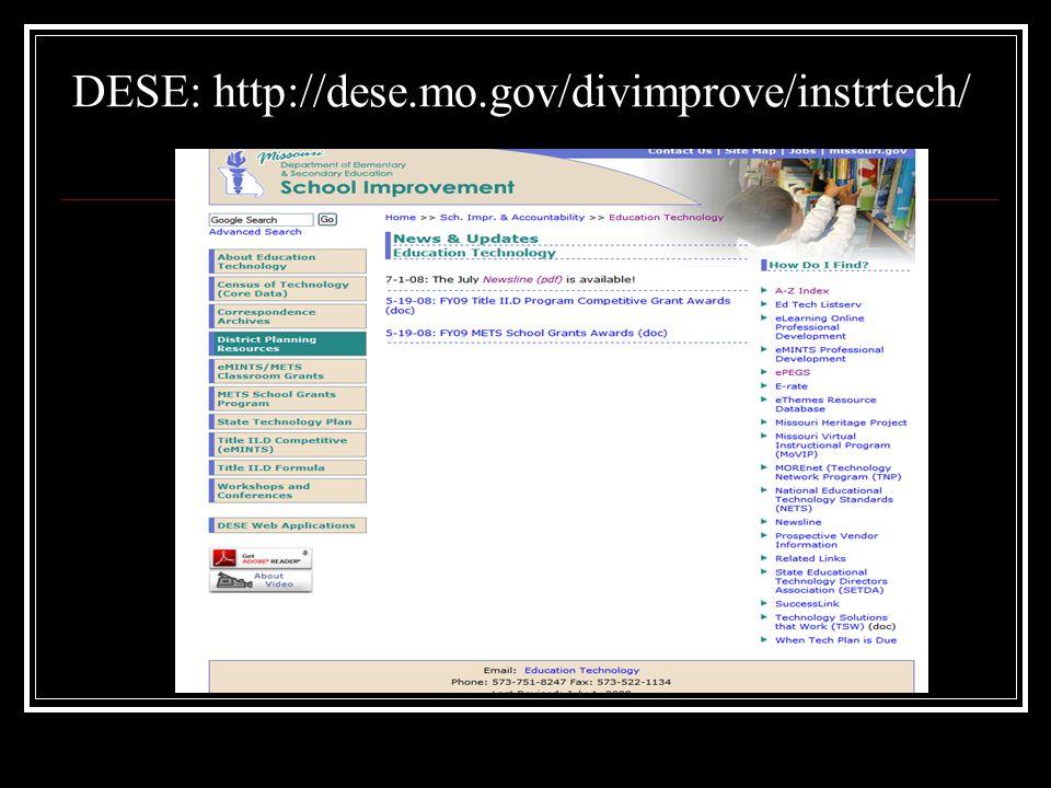 DESE: http://dese.mo.gov/divimprove/instrtech/