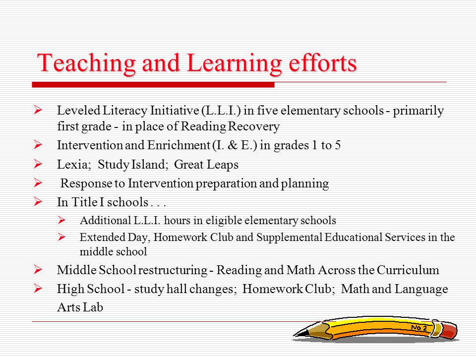 Teaching and Learning efforts  Leveled Literacy Initiative (L.L.I.) in five elementary schools - primarily first grade - in place of Reading Recovery