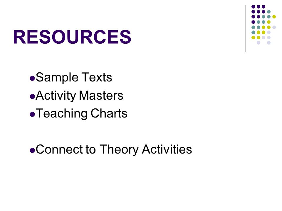RESOURCES Sample Texts Activity Masters Teaching Charts Connect to Theory Activities