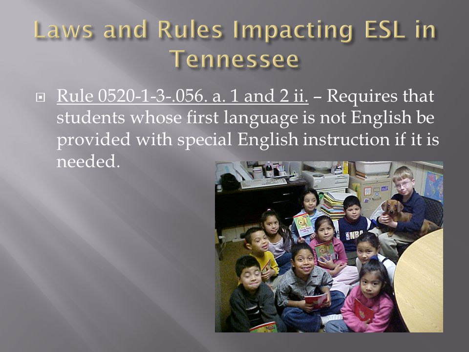  Rule 0520-1-3-.056. a. 1 and 2 ii. – Requires that students whose first language is not English be provided with special English instruction if it i