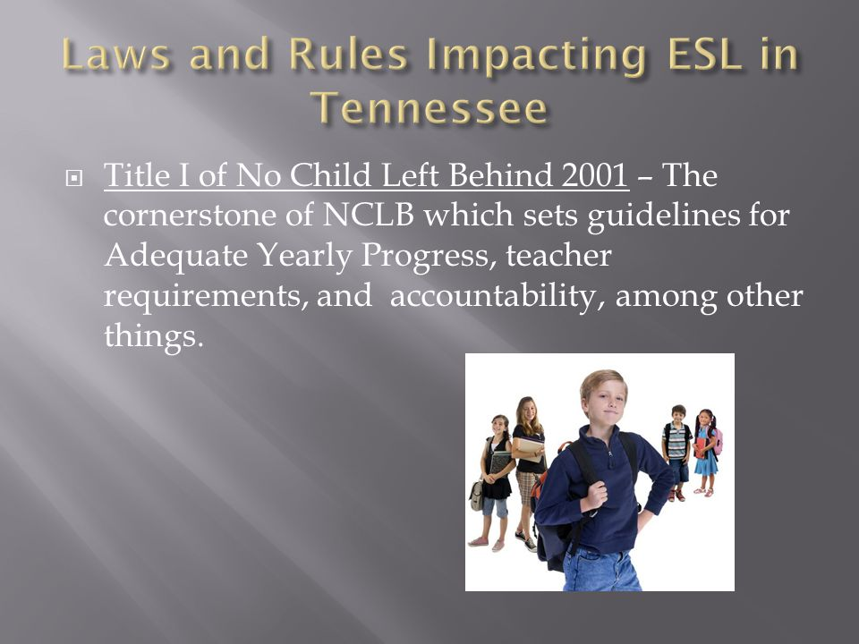  Title I of No Child Left Behind 2001 – The cornerstone of NCLB which sets guidelines for Adequate Yearly Progress, teacher requirements, and account