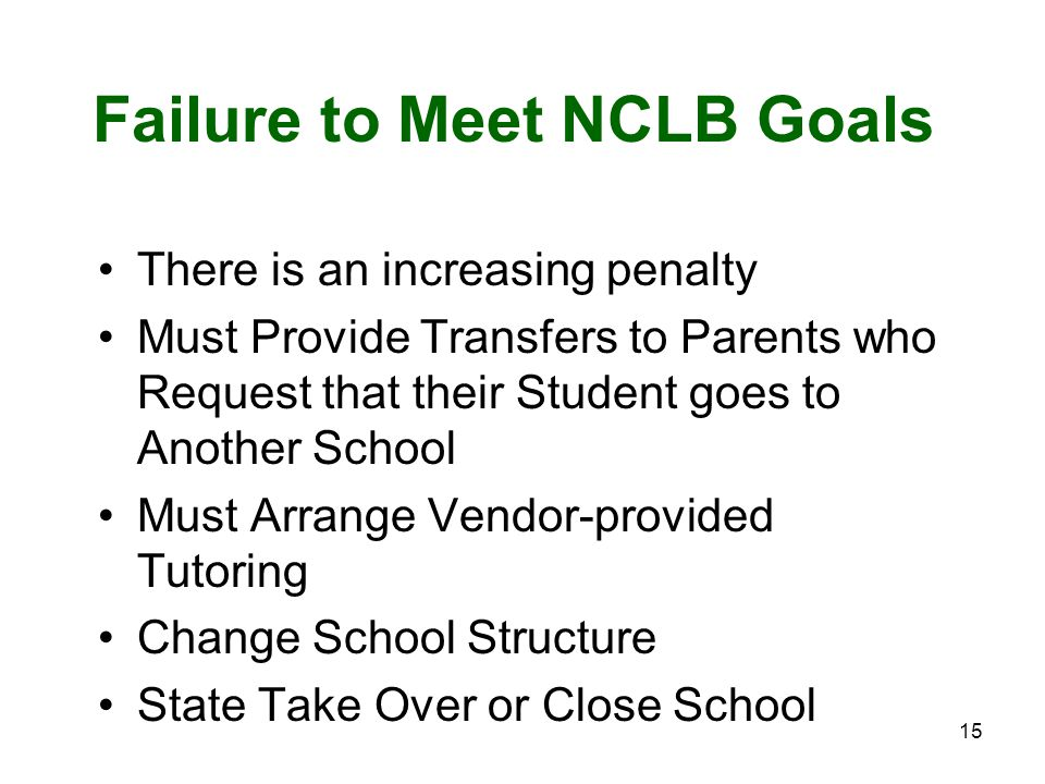 15 Failure to Meet NCLB Goals There is an increasing penalty Must Provide Transfers to Parents who Request that their Student goes to Another School Must Arrange Vendor-provided Tutoring Change School Structure State Take Over or Close School