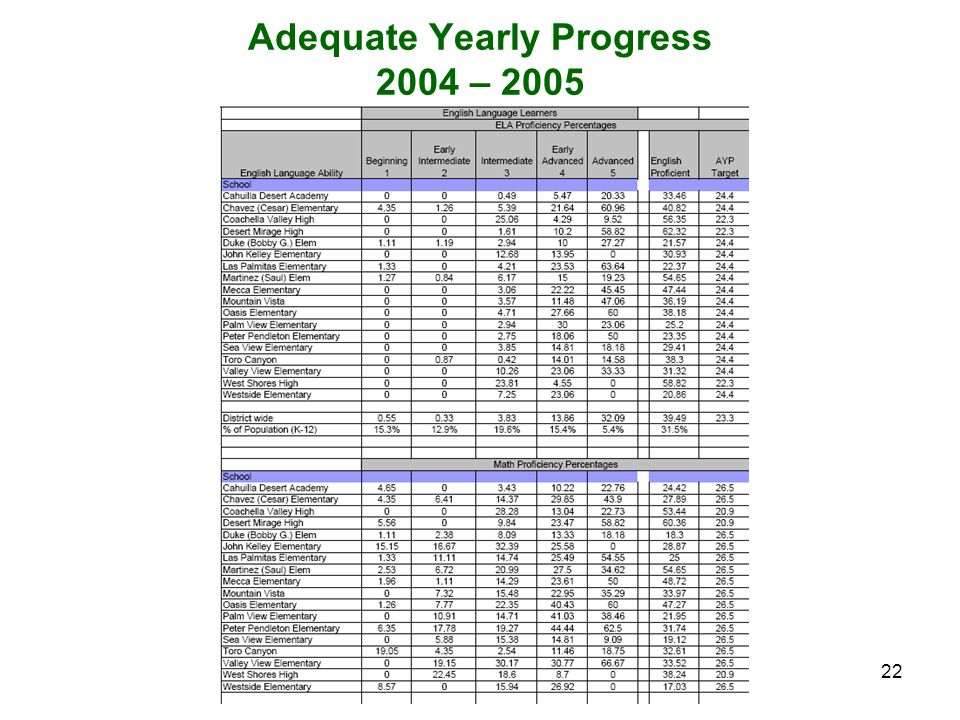 22 Adequate Yearly Progress 2004 – 2005