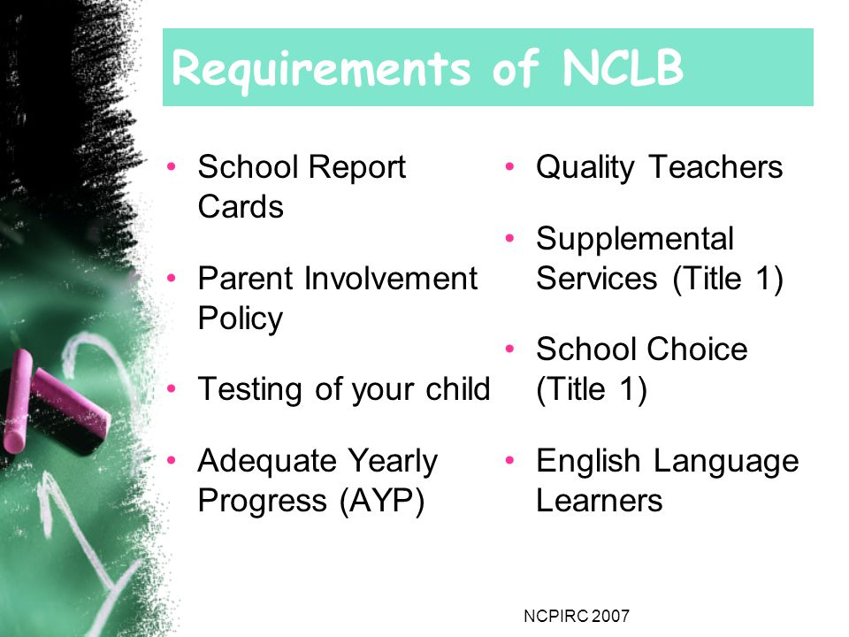 NCPIRC 2007 Requirements of NCLB School Report Cards Parent Involvement Policy Testing of your child Adequate Yearly Progress (AYP) Quality Teachers Supplemental Services (Title 1) School Choice (Title 1) English Language Learners