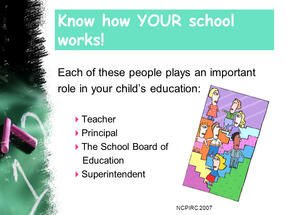 NCPIRC 2007 Know how YOUR school works.