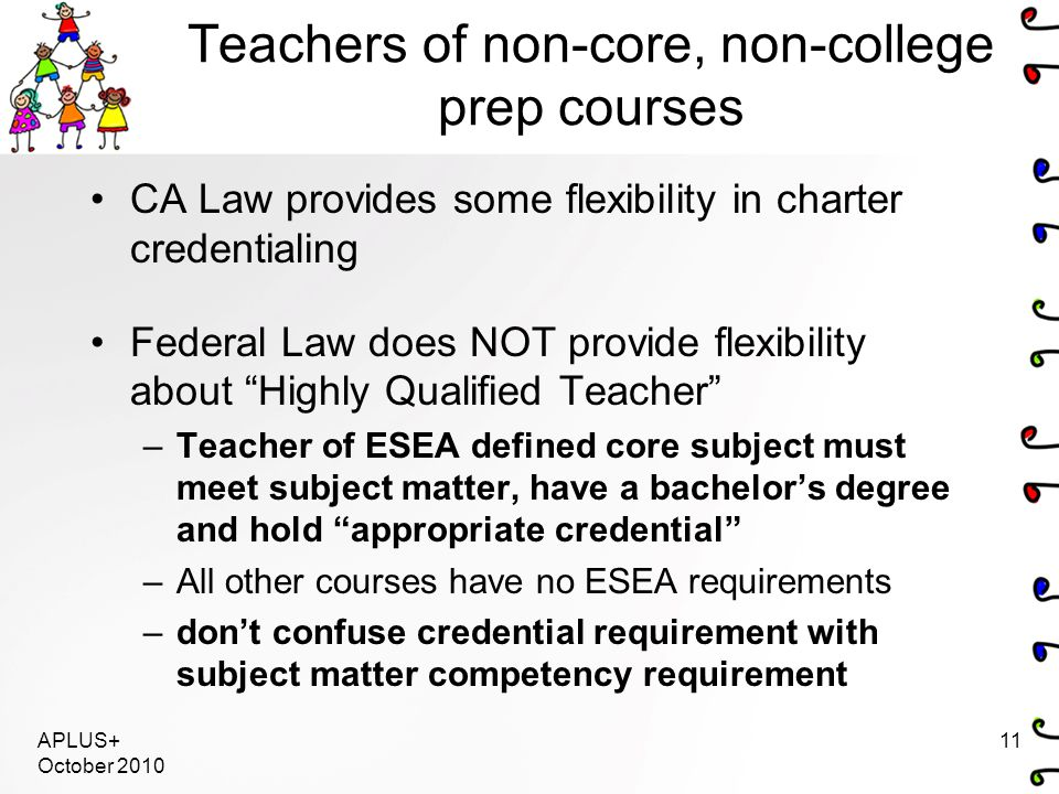 Teachers of non-core, non-college prep courses CA Law provides some flexibility in charter credentialing Federal Law does NOT provide flexibility about Highly Qualified Teacher –Teacher of ESEA defined core subject must meet subject matter, have a bachelor's degree and hold appropriate credential –All other courses have no ESEA requirements –don't confuse credential requirement with subject matter competency requirement APLUS+ October 2010 11