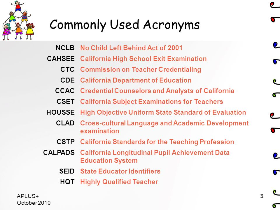 Commonly Used Acronyms NCLBNo Child Left Behind Act of 2001 CAHSEECalifornia High School Exit Examination CTCCommission on Teacher Credentialing CDECalifornia Department of Education CCACCredential Counselors and Analysts of California CSETCalifornia Subject Examinations for Teachers HOUSSEHigh Objective Uniform State Standard of Evaluation CLADCross-cultural Language and Academic Development examination CSTPCalifornia Standards for the Teaching Profession CALPADSCalifornia Longitudinal Pupil Achievement Data Education System SEIDState Educator Identifiers HQTHighly Qualified Teacher APLUS+ October 2010 3