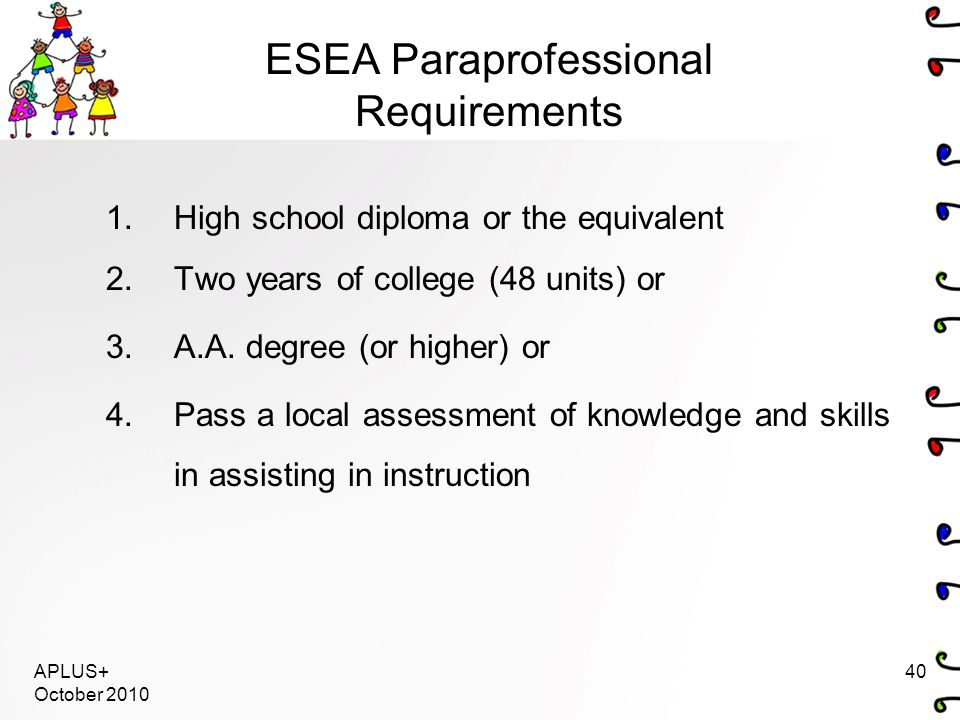 APLUS+ October 2010 40 ESEA Paraprofessional Requirements 1.High school diploma or the equivalent 2.Two years of college (48 units) or 3.A.A. degree (