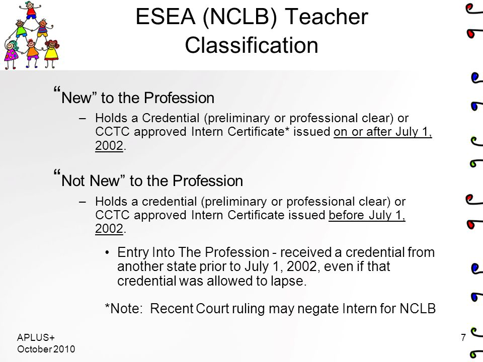 APLUS+ October 2010 7 ESEA (NCLB) Teacher Classification New to the Profession –Holds a Credential (preliminary or professional clear) or CCTC approved Intern Certificate* issued on or after July 1, 2002.