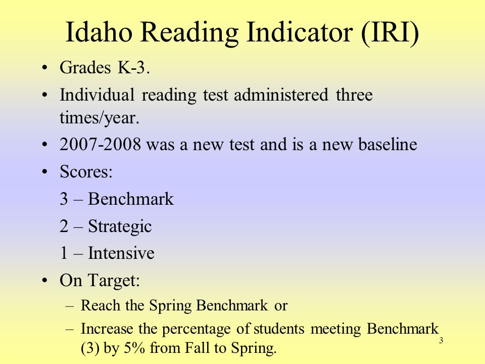 3 Idaho Reading Indicator (IRI) Grades K-3. Individual reading test administered three times/year. 2007-2008 was a new test and is a new baseline Scor